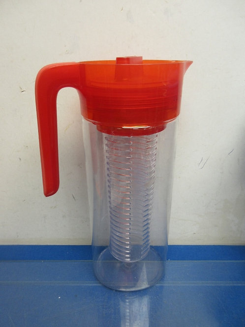 Red and clear plastic  fruit infusing pitcher