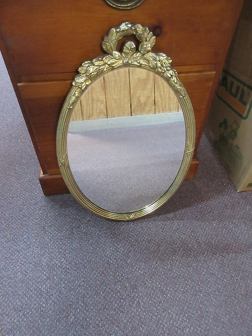 """Gold ornate oval mirror 19""""long, 2 available"""
