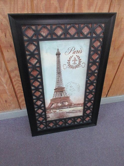 "Print of Eiffel Tower w/lattice type frame 22x34"""