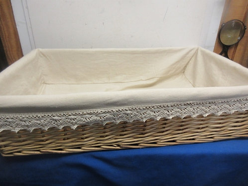 """Rectangular woven twig basket with cloth liner - 18x30x7"""" high"""