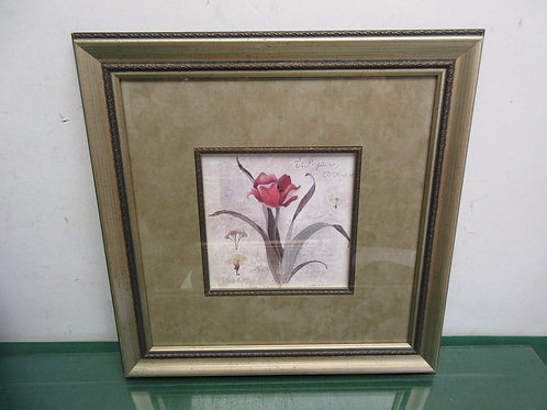 Sonnoma print of a red tulip, gold marble style mat, gold frame 13x13