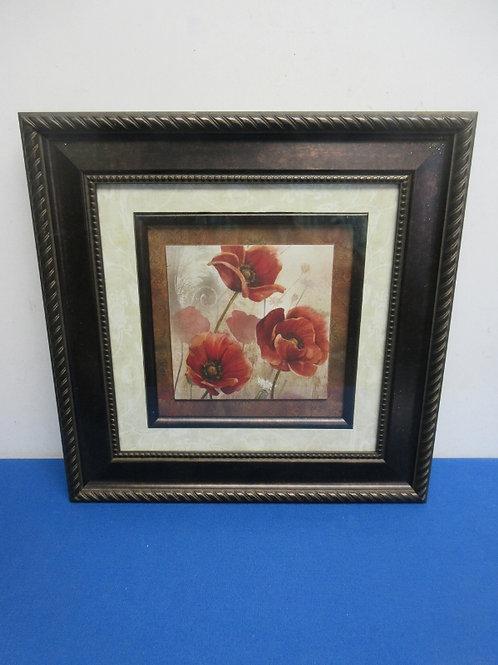 Red flower print ivory mat, dark frame 16x16