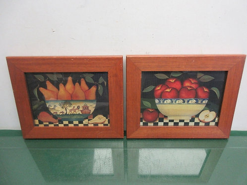 """Pair of prints of fruit bowls, apples and pears, each 8x10"""""""
