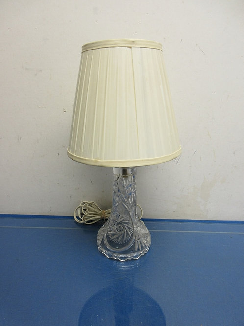 """Crystal bedside lamp with ivory shade - 15"""" high"""