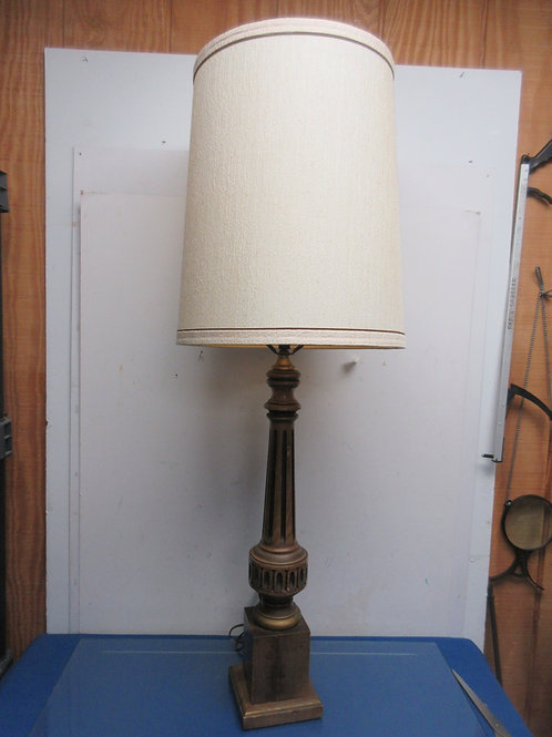 """Mid Century vintage tall brown table lamp with tan shade, 41"""" tall"""