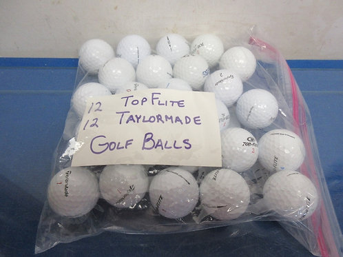 Bag of 24 golf balls - 12 Top Flite and 12 TaylorMade