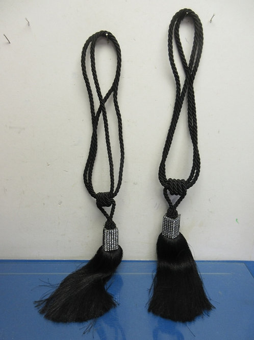 Pair of black rope tassels with ge stone accents