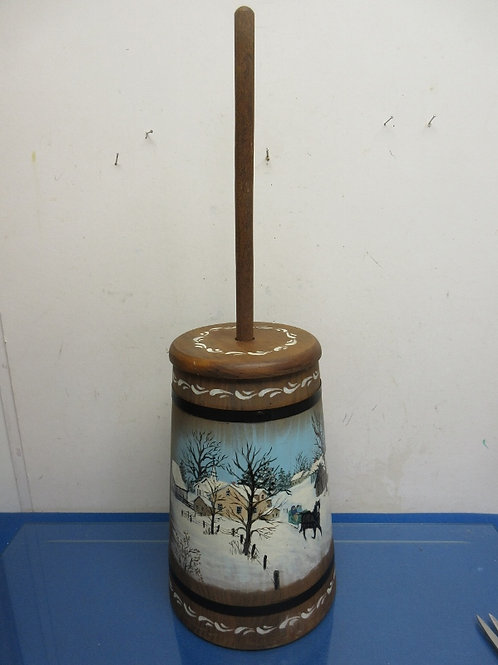 Antique butter churn with hand painted winter scene - includes stick