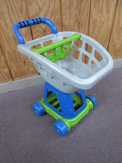 Blue, green and gray toy shopping cart