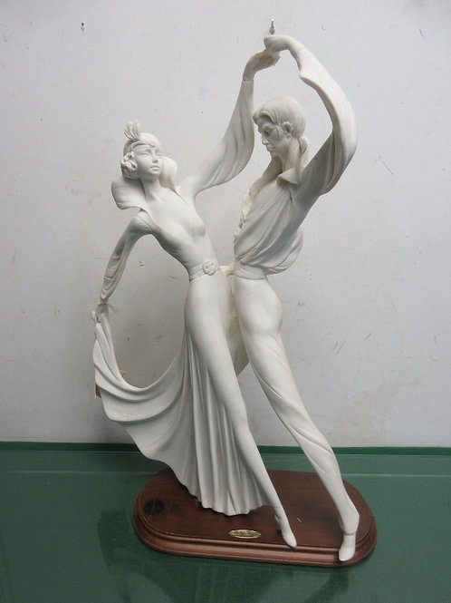 "A. Santini sculpture of couple dancing- on wood base, 20""tall"