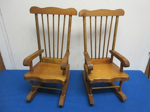 """Pair of 18"""" doll size wooden rocking chairs"""