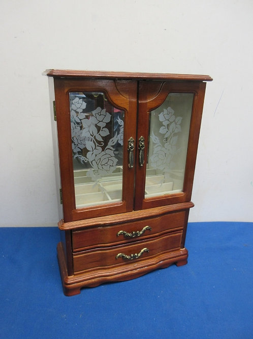 """Wooden jewelry box with 2 doors, & 2 drawers, 15"""" tall"""