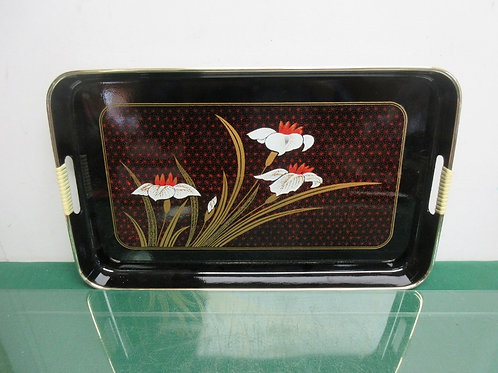 Black lacquered serving tray, flower design
