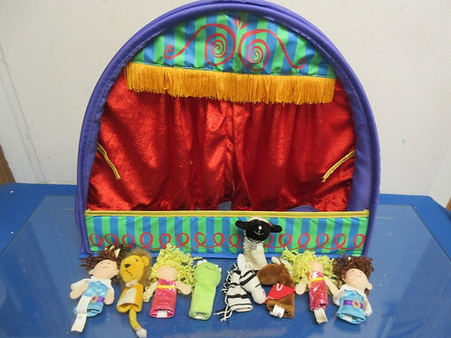 Set of 9 assorted cloth finger puppets, animals & people with stage