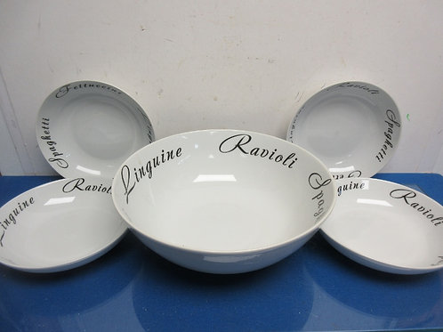 Tabletop Gallery 365 ceramic pasta serving bowl & 4 individual bowls
