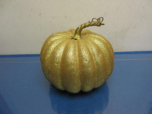 """Gold glitter Styrofoam pumpkin 8x7"""""""