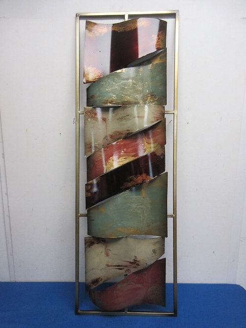 """Welded wall hanging, wavy multicolored metal pieces, 12x36"""""""