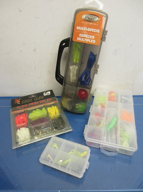 Group of 4 small plastic boxes filled w/assorted hooks, lures, bobbers and more
