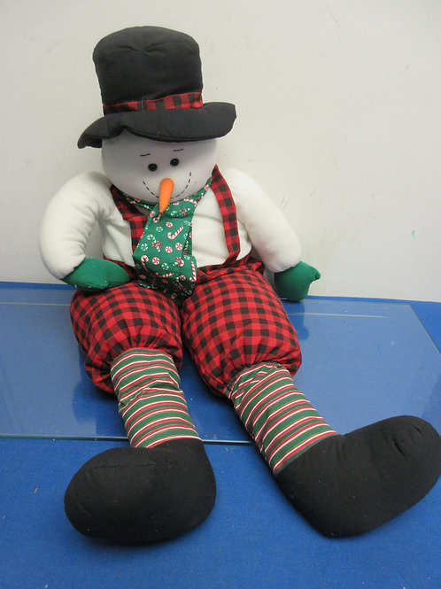 """Large stuffed snowman weighted to sit on mantle 30""""long"""