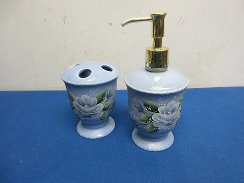 Blue ceramic bathroom set, hand painted tooth brush holder & soap pump