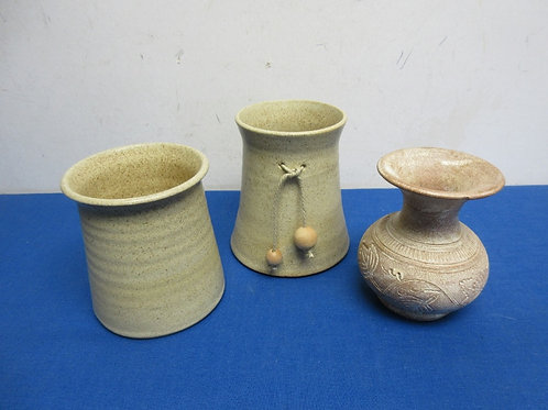"""Set of 3 beige pottery candle holders, each 5"""" high"""