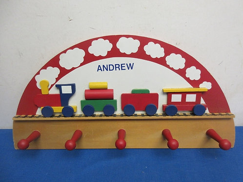 """Train theme 5 peg wooden coat rack customized with the name """"Andrew"""""""