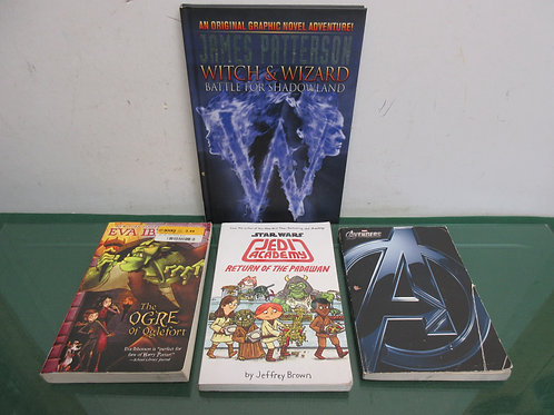 Set of 4 chapter books, James Patterson, Star Wars, Avengers