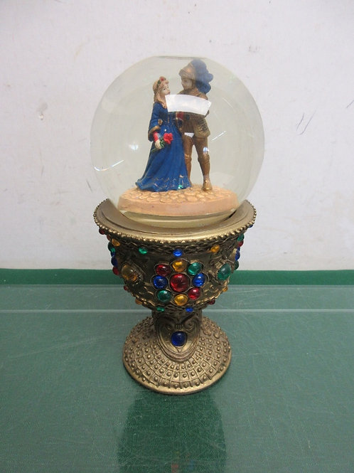 Pedestal musical snow globe with jewels, knight and lady in globe, plays Unchain
