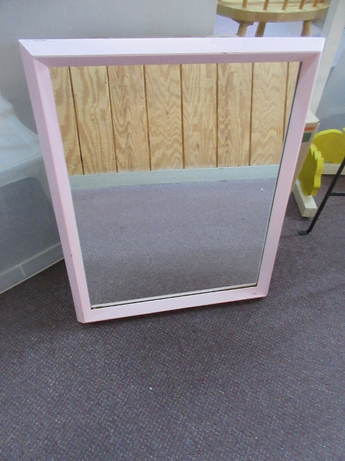 Rectangular wall mirror with pink wooden frame, 19x23