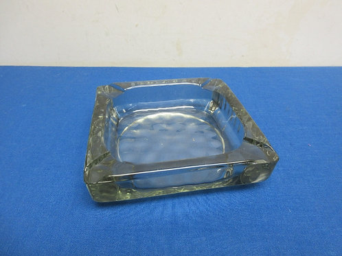 Vintage heavy glass square cigar ash tray