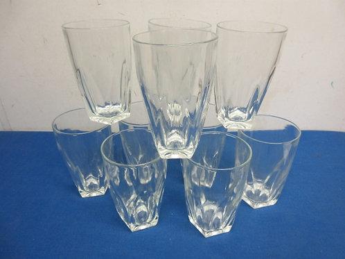 Set of 10 heavy glass tumblers