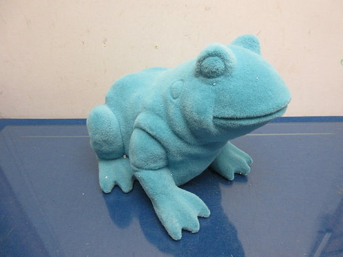 Barbara King faux velour indoor/outdoor animal statue, teal frog-New