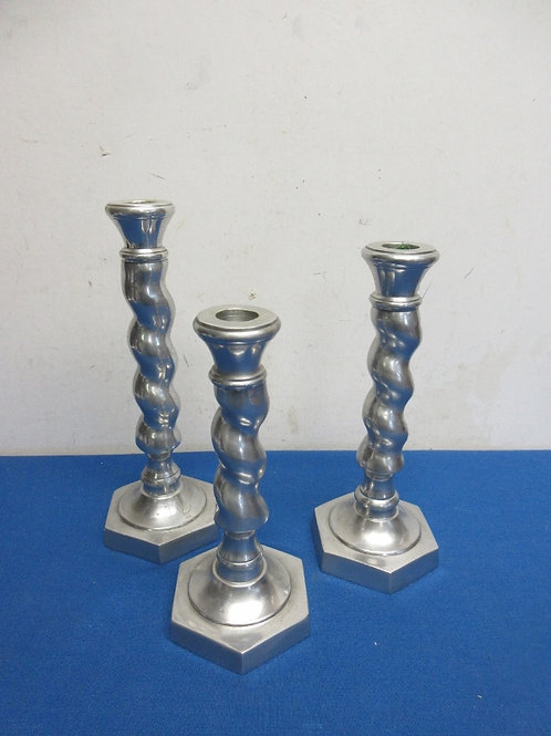 Set of 3 taper candle holders - silver
