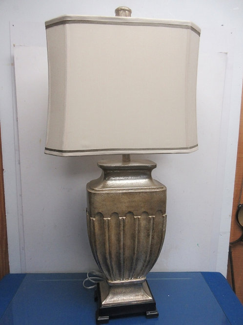 "Silver large pillar style table lamp with rectangular ivory shade 34"" tall"