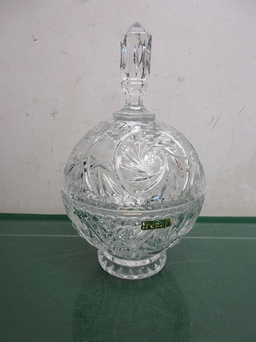 Irena from Poland large cut glass round pededstal bowl with lid
