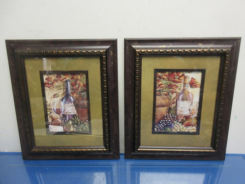 Pair of prints of wine & fruit-gold mat, brown and gold frame 11x13