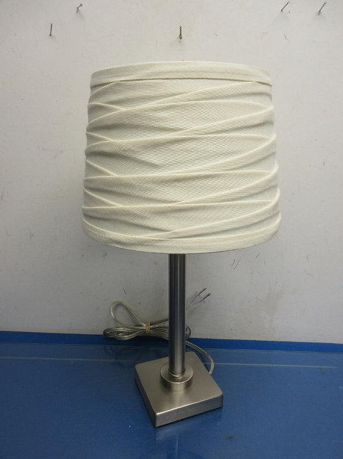 "Small brushed stainless table lamp with white cloth shade, 18""high"