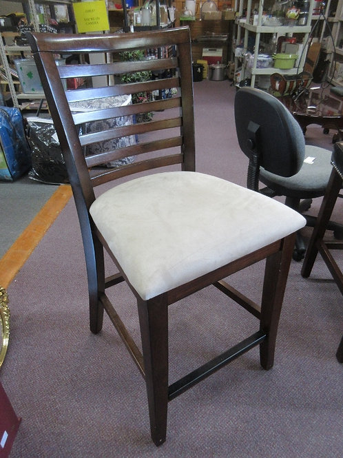 """Slat back wooden stool with tan upholstered seat, seat is 25""""high"""