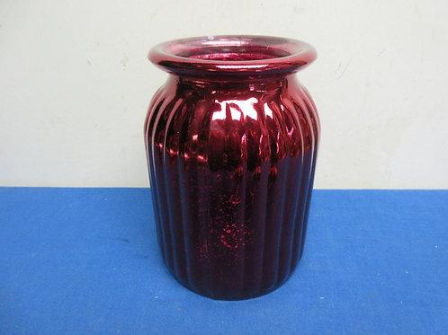 "Pink ribbed style glass jar style vase - 8"""