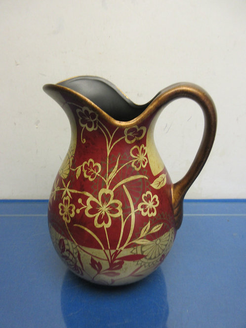 """Burgundy and tan decorative water pitcher, 10""""high"""