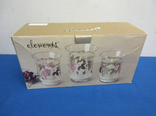 Elements set of 3 glass candle holders, grape design, new in box