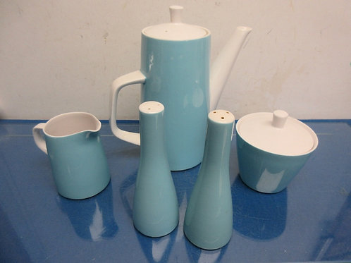 Mikasa Cera Stone vintage sky blue coffee pot, creamer and sugar bowl & salt & p