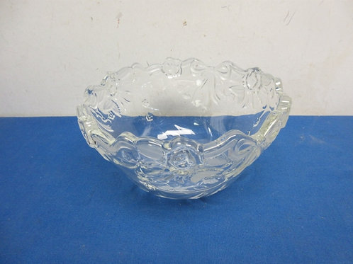 Heavy cut glass bowl with frosted ribbon designs