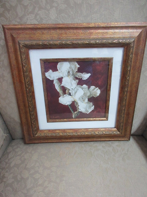 Framed pair of white orchids, white mat gold tone wide wood frame 14x14