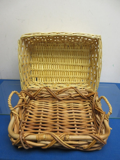 Pair of rectangular woven twig baskets, 12x15xx5 and 10x13x2""