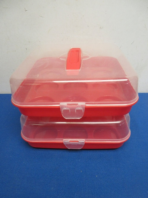 pair of red and clear cupcake carriers, each hold 9 cupcakes