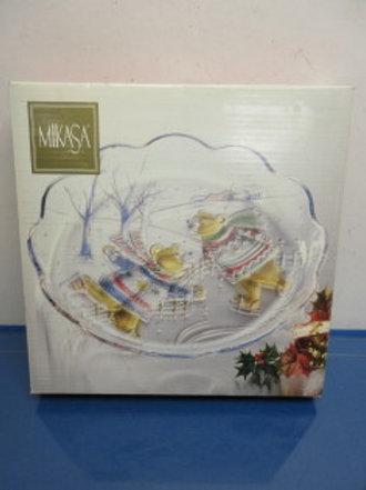 Mikasa serving platter, bears ice skating design, new in box