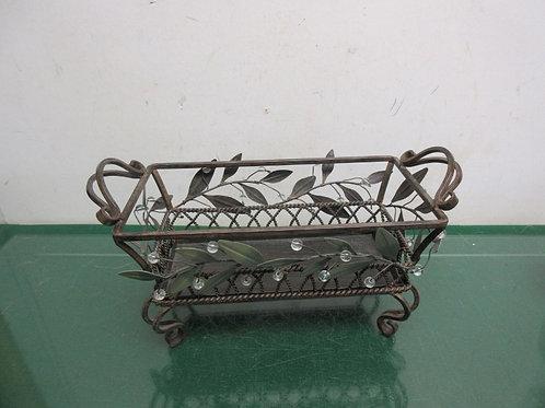 Brown metal rectangular footed basket with leaf design