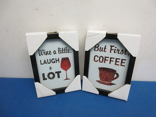 """Pair of new small wall plaques in black frames - """"coffee first and wine a little"""