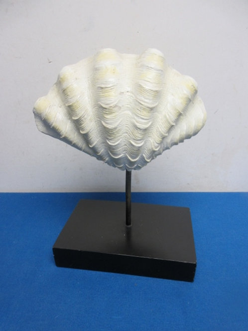 """Decorative clam shell on stand 12"""" tall"""